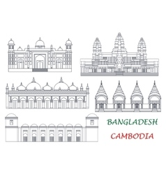 Travel landmarks of Cambodia and Bangladesh icons vector image