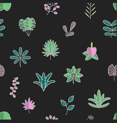 tropical leaves and flora hawaii seamless vector image
