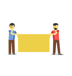 two men standing with striking empty banner vector image