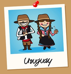 Uruguay travel polaroid people vector