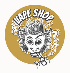 Vape shop emblem with vaping ape vector