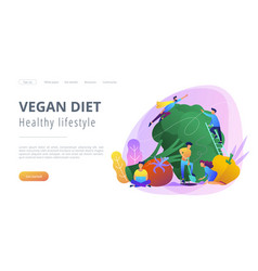 Vegan diet and healthy lifestyle landing page vector