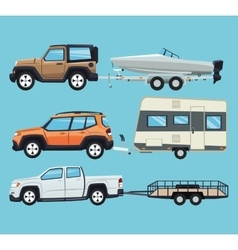 Vehicle and trailer house and boat design vector