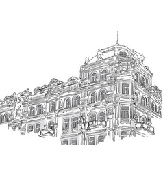 Vintage building in sketch style vector