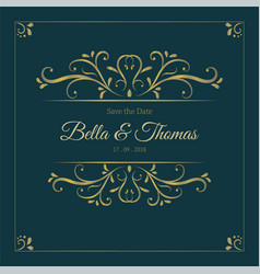 Vintage dark luxury golden invitation card vector