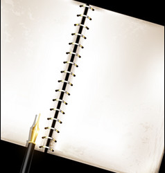 vintage notepad and golden pen vector image