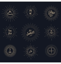 Vintage sunburst hipster logo elements vector image
