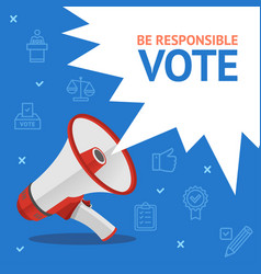 Vote concept card with loudspeaker and thin line vector