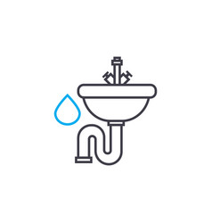 water supply system thin line stroke icon vector image