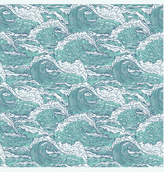 waves sea ocean seamless pattern big and vector image