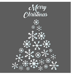 white snowflake christmas tree on gray background vector image
