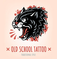 wild cat old school tattoo traditional style vector image