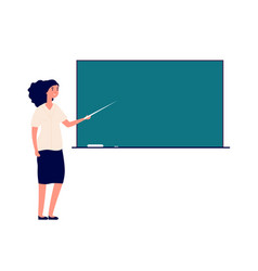 Woman teacher at blackboard female tutor in vector