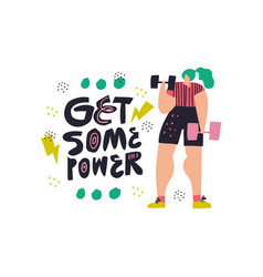 workout with dumbbells flat color vector image