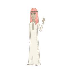 Young muslim man waving his hand vector