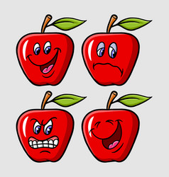 apple emoticon icon cartoon character vector image vector image