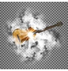Bright smoke and guitar transparent shine vector image