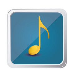 button of sign eighth note in yellow with vector image