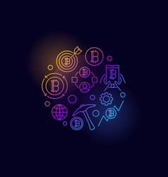 colorful cryptocurrency circular symbol vector image vector image