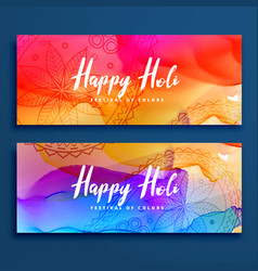 colorful happy holi banners set vector image vector image