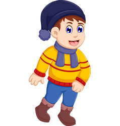 funny little boy cartoon wearing winter clothes vector image vector image