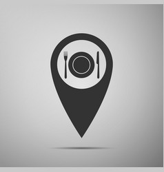map pointer with restaurant icon icon isolated vector image vector image