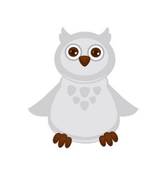owl baby with big brown eyes and white plumage vector image