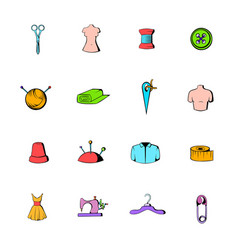 tailor elements icons set cartoon vector image vector image