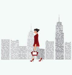 woman walking in the city vector image vector image