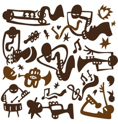 Jazz musicians play on tubes vector image vector image