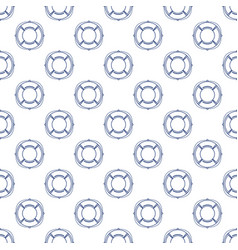 Seamless pattern with lifebuoy line style vector
