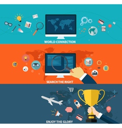 Set of business strategy and creative process vector image vector image