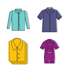 shirt icon set color outline style vector image