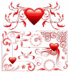 valentines card decoration set vector image vector image