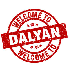 welcome to dalyan red stamp vector image vector image