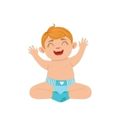 White boy infant happy sitting in diaper part of vector