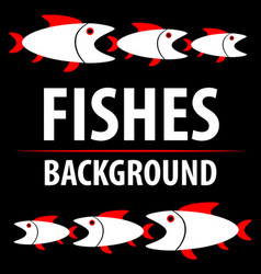 background with fishes cartoon flat characters vector image