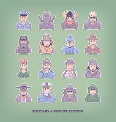 cartoon people icons military and enforcement vector image vector image
