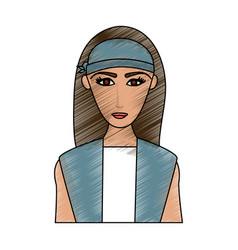 color pencil cartoon half body woman with long vector image vector image