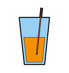 Juice glass with straw vector
