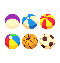sport and toy balls icons isolated on white vector image vector image