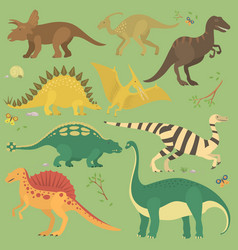 dinosaur vintage color seamless pattern vector image vector image