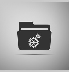 settings folder icon isolated on grey background vector image