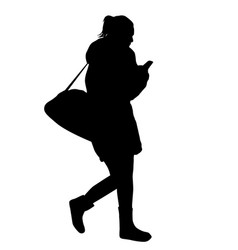 woman silhouette walking and talking on the vector image
