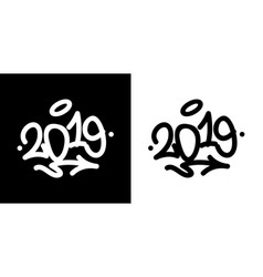 2019 tag in black over white and white over vector image