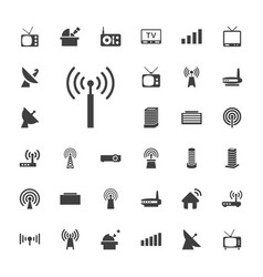 33 antenna icons vector