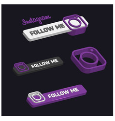 3d instagram follow me button vector