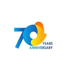 70 years anniversary celebration blue yellow vector