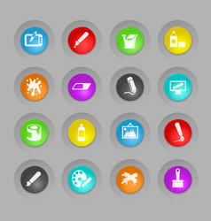 Art colored plastic round buttons icon set vector