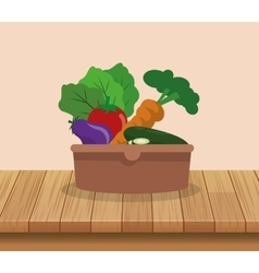 assorted vegetables emblem image vector image